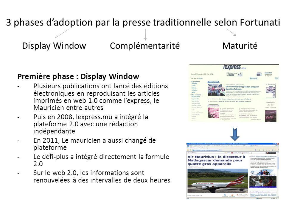 3 phases dadoption par la presse traditionnelle selon Fortunati Première phase : Display Window -Plusieurs publications ont lancé des éditions électro
