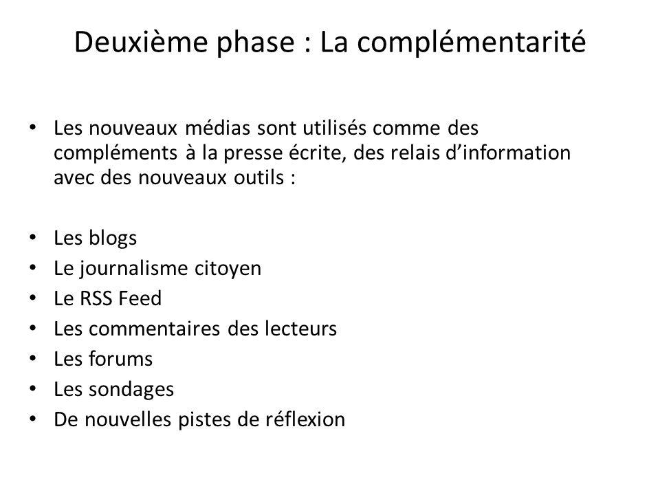 Deuxième phase : La complémentarité Les nouveaux médias sont utilisés comme des compléments à la presse écrite, des relais dinformation avec des nouve