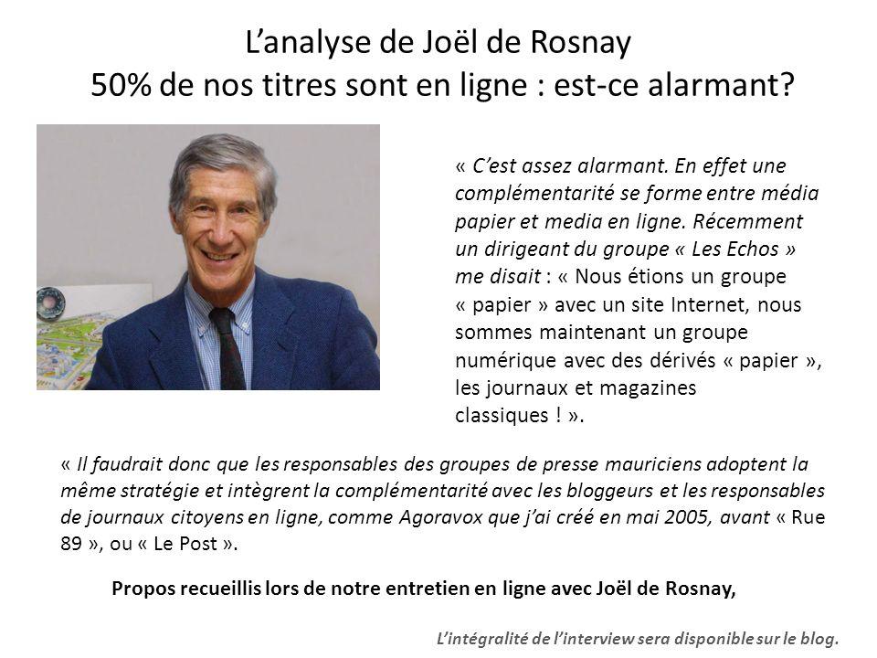 Lanalyse de Joël de Rosnay 50% de nos titres sont en ligne : est-ce alarmant? « Cest assez alarmant. En effet une complémentarité se forme entre média