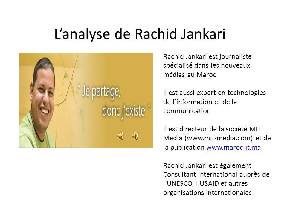 Lanalyse de Rachid Jankari Rachid Jankari est journaliste spécialisé dans les nouveaux médias au Maroc Il est aussi expert en technologies de linforma