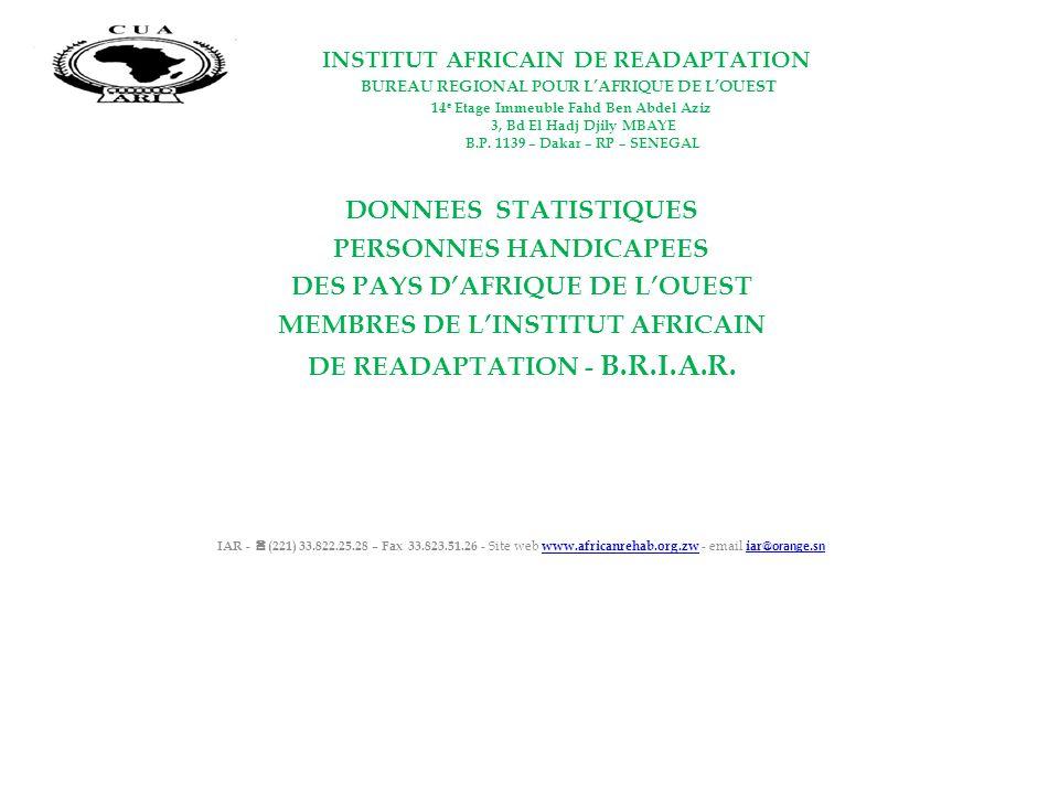 INSTITUT AFRICAIN DE READAPTATION BUREAU REGIONAL POUR LAFRIQUE DE LOUEST 14 e Etage Immeuble Fahd Ben Abdel Aziz 3, Bd El Hadj Djily MBAYE B.P. 1139