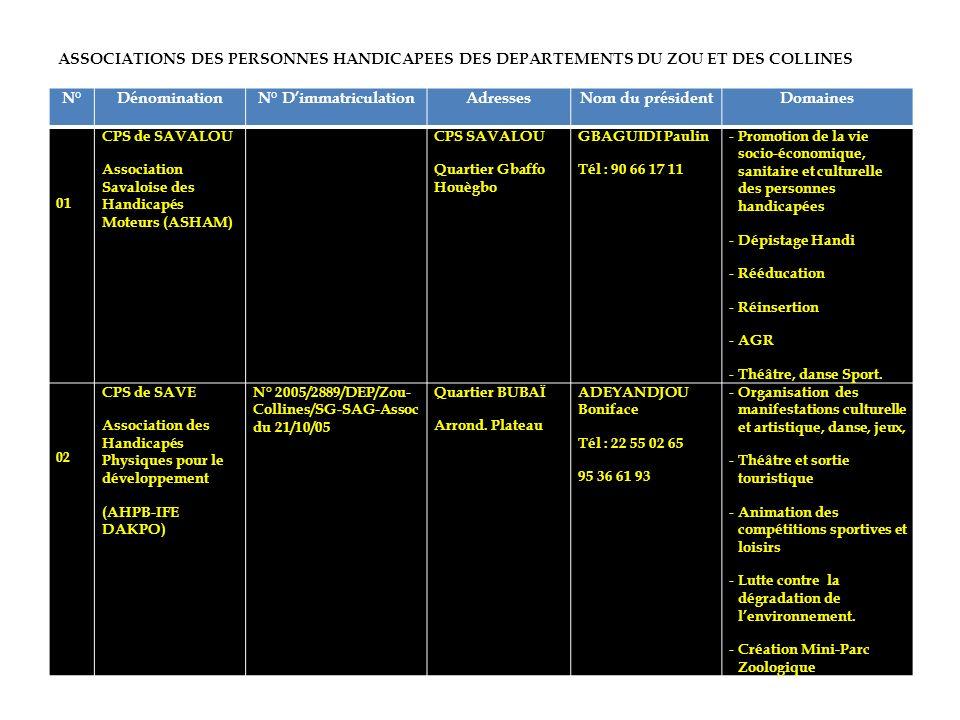 ASSOCIATIONS DES PERSONNES HANDICAPEES DES DEPARTEMENTS DU ZOU ET DES COLLINES N°DénominationN° DimmatriculationAdressesNom du présidentDomaines 01 CP