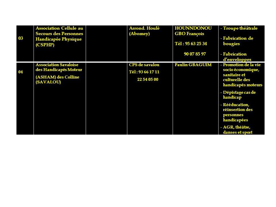 03 Association Cellule au Secours des Personnes Handicapée Physique (CSPHP) Arrond. Houlè (Abomey) HOUNNDONOU GBO François Tél : 95 63 25 34 90 07 85