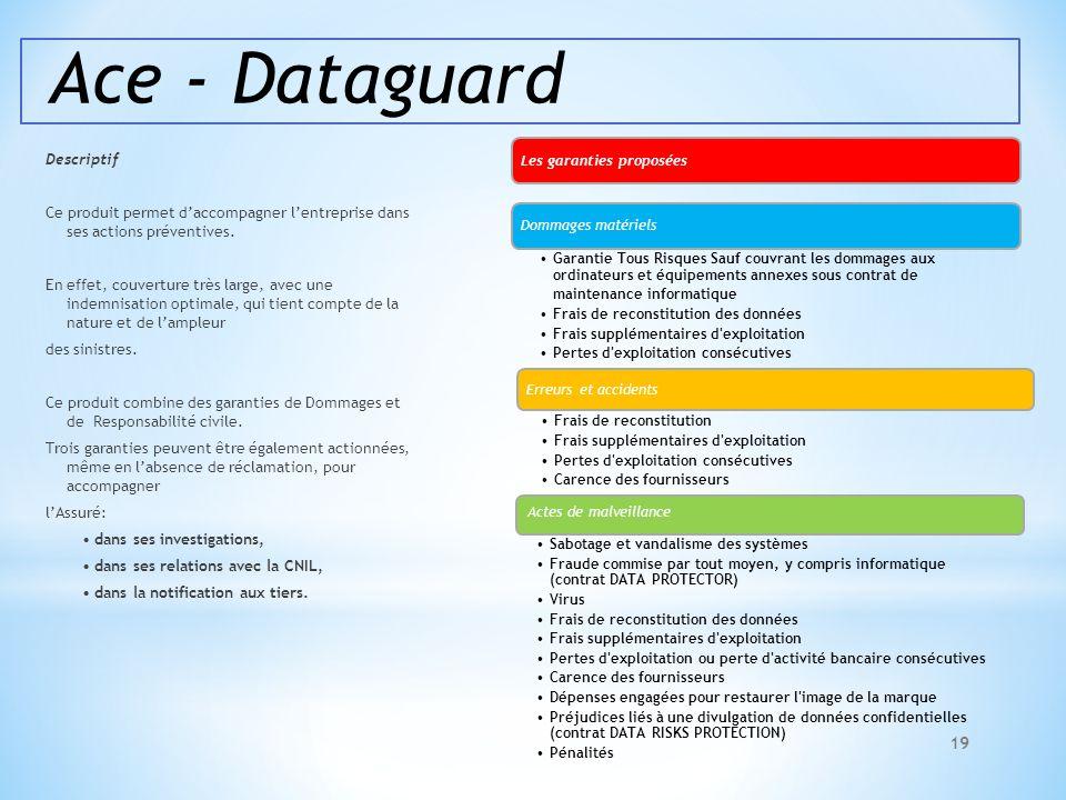 Ace - Dataguard Descriptif Ce produit permet daccompagner lentreprise dans ses actions préventives. En effet, couverture très large, avec une indemnis