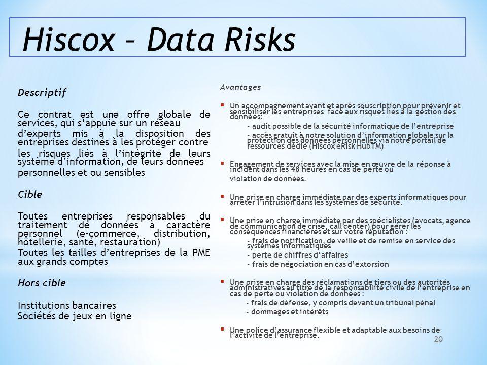 Hiscox – Data Risks Descriptif Ce contrat est une offre globale de services, qui sappuie sur un réseau dexperts mis à la disposition des entreprises d