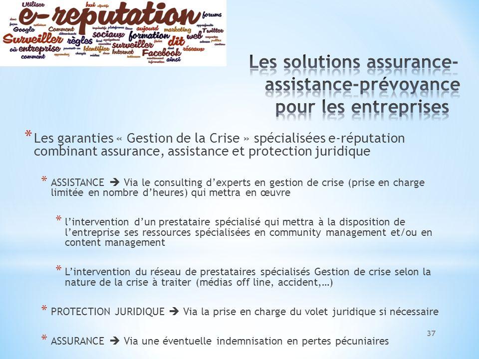 * Les garanties « Gestion de la Crise » spécialisées e-réputation combinant assurance, assistance et protection juridique * ASSISTANCE Via le consulti
