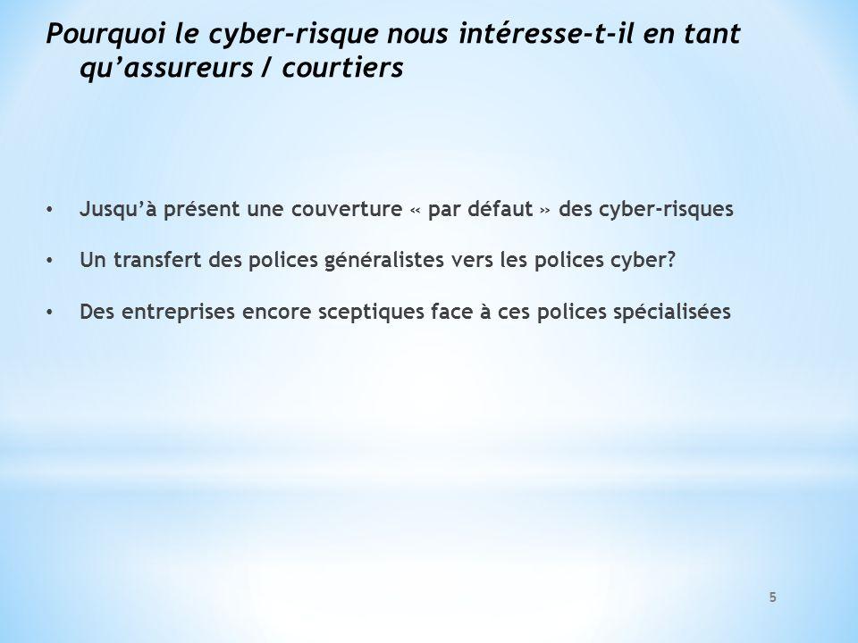 Pourquoi le cyber-risque nous intéresse-t-il en tant quassureurs / courtiers Jusquà présent une couverture « par défaut » des cyber-risques Un transfe