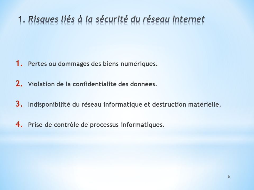 1. Pertes ou dommages des biens numériques. 2. Violation de la confidentialité des données. 3. Indisponibilité du réseau informatique et destruction m