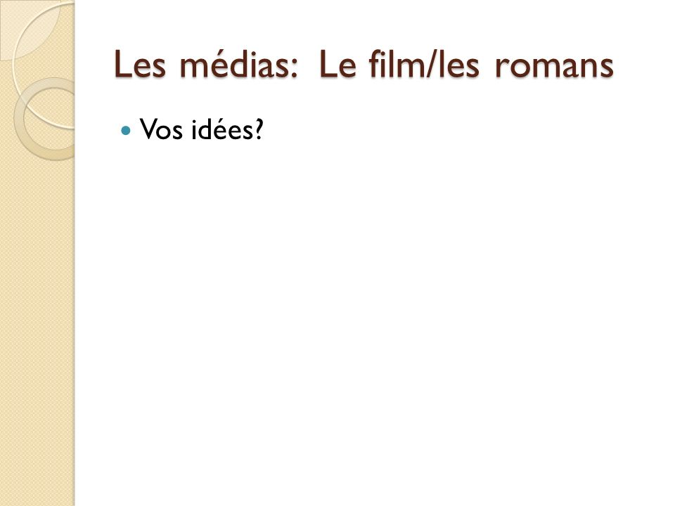 Les médias: Le film/les romans Vos idées