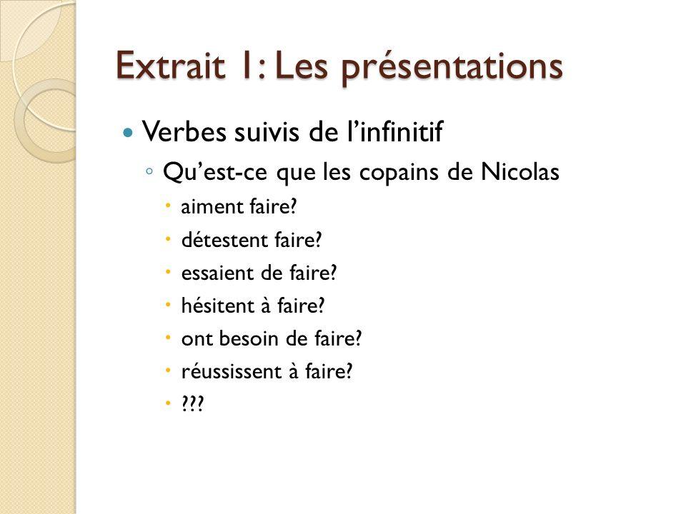 Extrait 1: Les présentations Verbes suivis de linfinitif Quest-ce que les copains de Nicolas aiment faire.