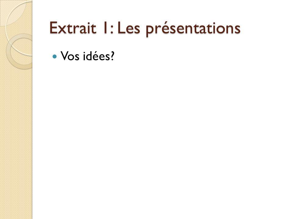 Extrait 1: Les présentations Vos idées