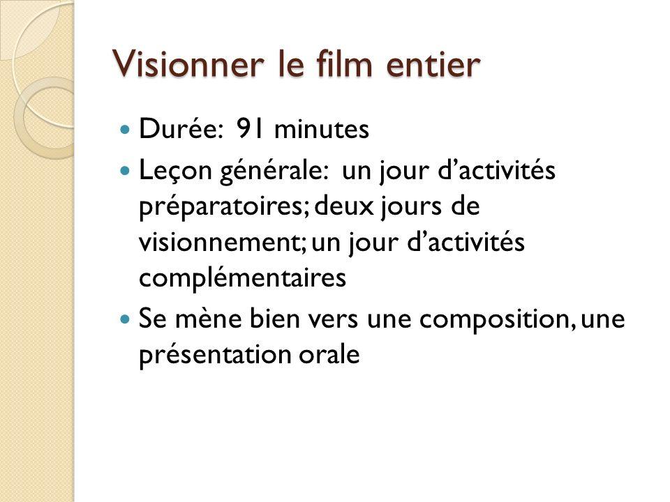 Visionner le film entier Durée: 91 minutes Leçon générale: un jour dactivités préparatoires; deux jours de visionnement; un jour dactivités complémentaires Se mène bien vers une composition, une présentation orale
