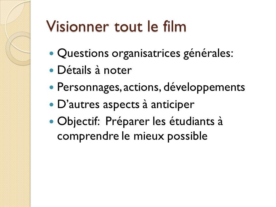 Visionner tout le film Questions organisatrices générales: Détails à noter Personnages, actions, développements Dautres aspects à anticiper Objectif: Préparer les étudiants à comprendre le mieux possible