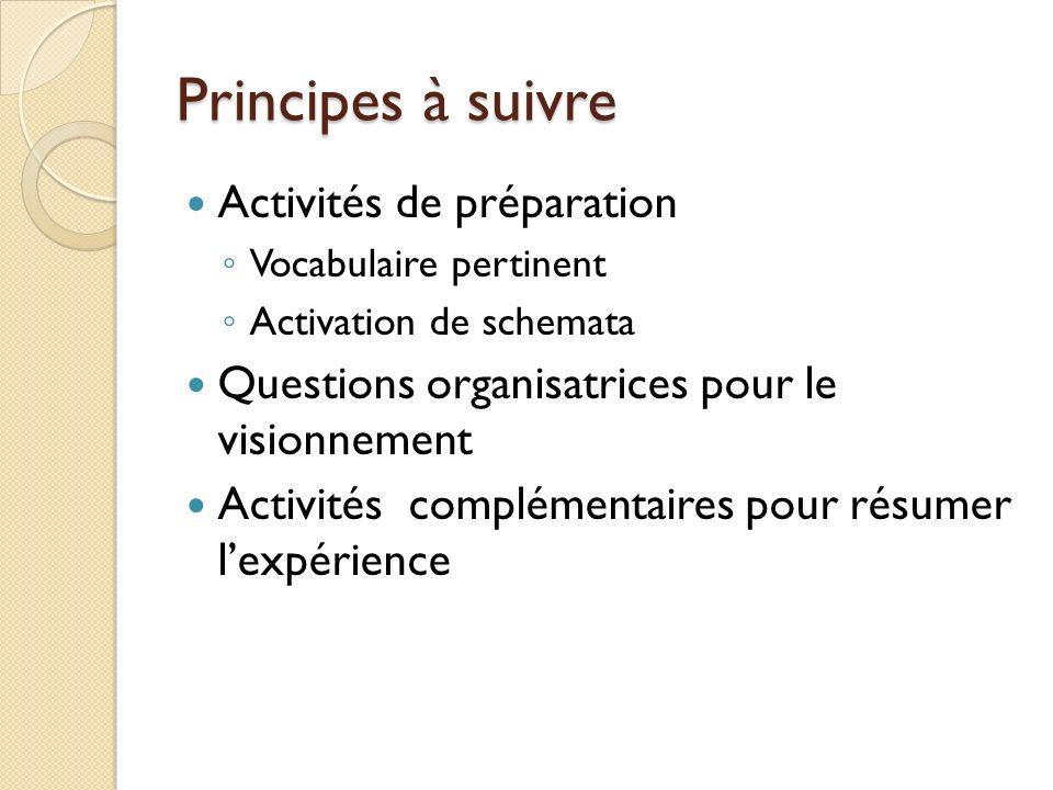 Principes à suivre Activités de préparation Vocabulaire pertinent Activation de schemata Questions organisatrices pour le visionnement Activités complémentaires pour résumer lexpérience