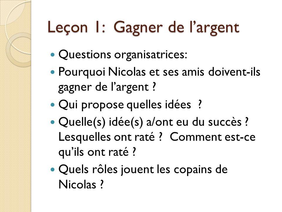 Leçon 1: Gagner de largent Questions organisatrices: Pourquoi Nicolas et ses amis doivent-ils gagner de largent .