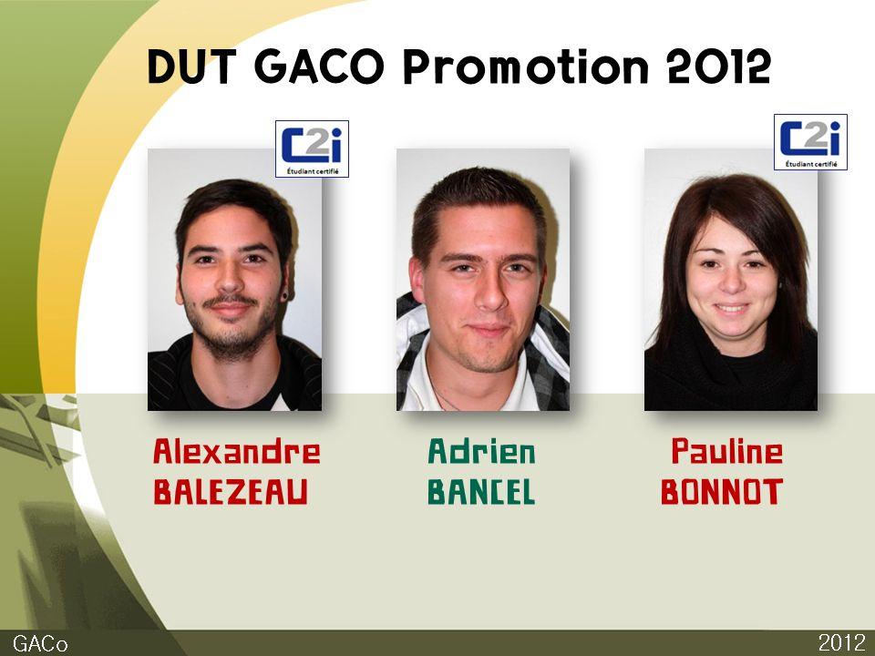 DUT GACO Promotion 2012 2012 GACo Alexandre BALEZEAU Adrien BANCEL Pauline BONNOT