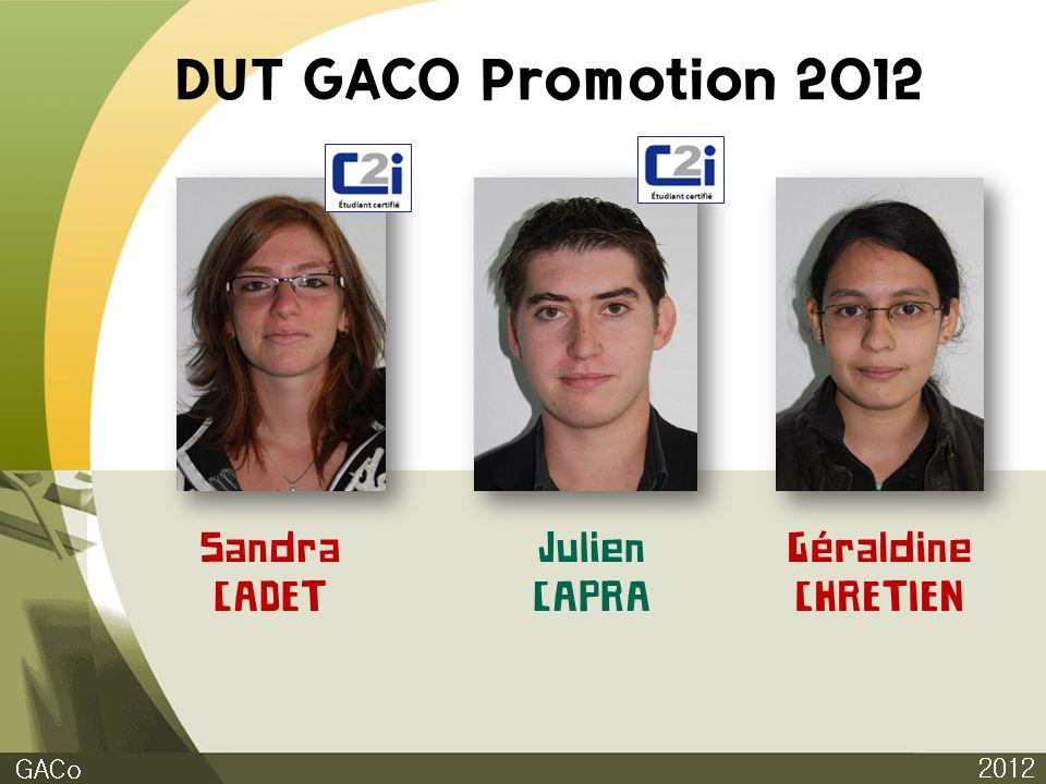 DUT GACO Promotion 2012 2012 GACo Sandra CADET Julien CAPRA Géraldine CHRETIEN