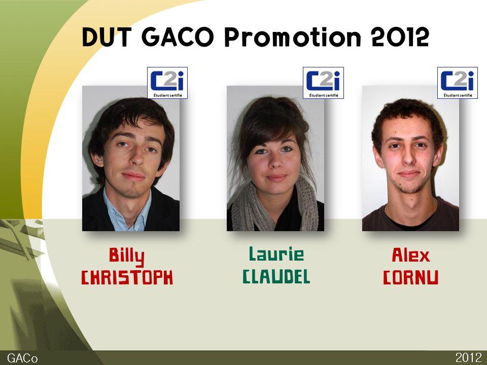 DUT GACO Promotion 2012 2012 GACo Billy CHRISTOPH Laurie CLAUDEL Alex CORNU