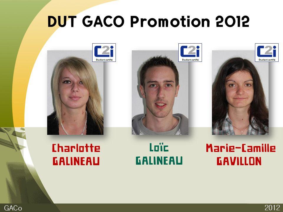 DUT GACO Promotion 2012 2012 GACo Charlotte GALINEAU Loïc GALINEAU Marie-Camille GAVILLON