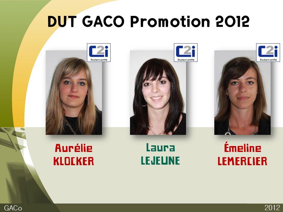 DUT GACO Promotion 2012 2012 GACo Aurélie KLOCKER Laura LEJEUNE Émeline LEMERCIER