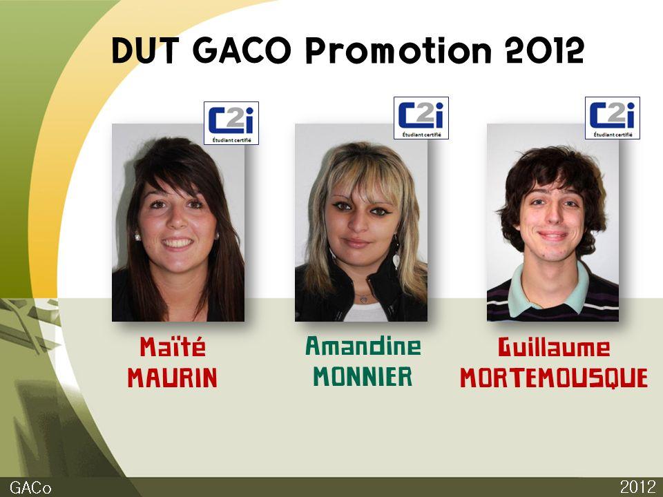 DUT GACO Promotion 2012 2012 GACo Maïté MAURIN Amandine MONNIER Guillaume MORTEMOUSQUE