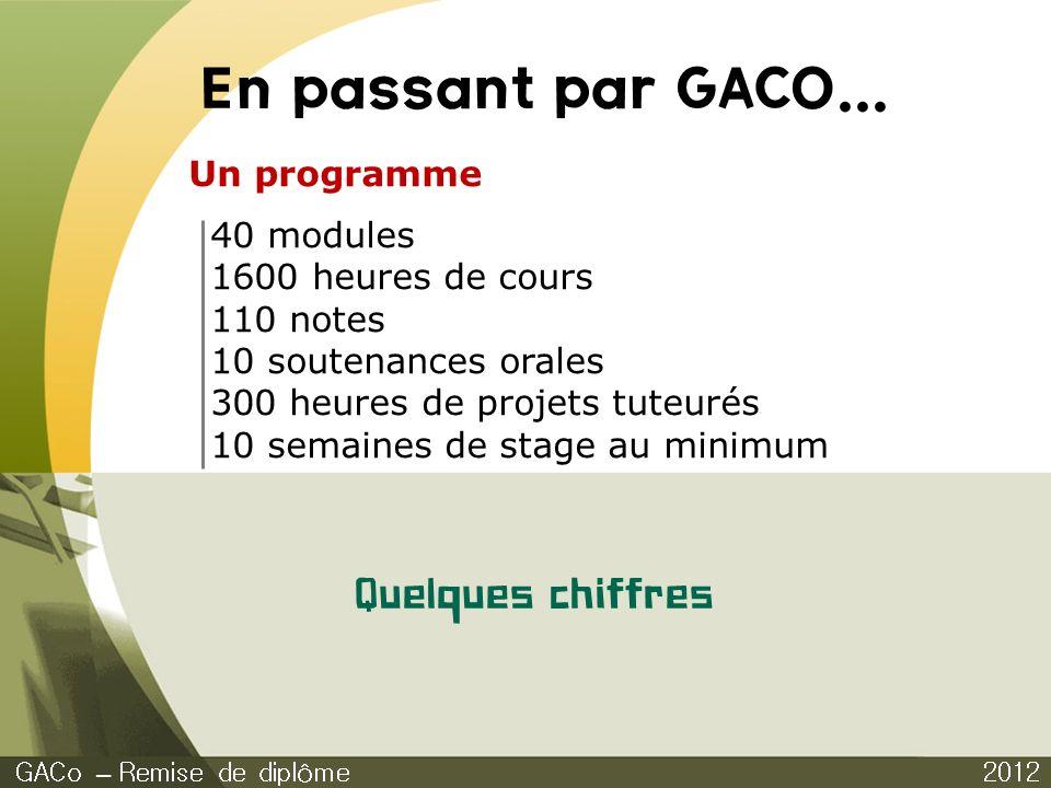 En passant par GACO... 2012 GACo – Remise de diplôme Quelques chiffres Un programme 40 modules 1600 heures de cours 110 notes 10 soutenances orales 30