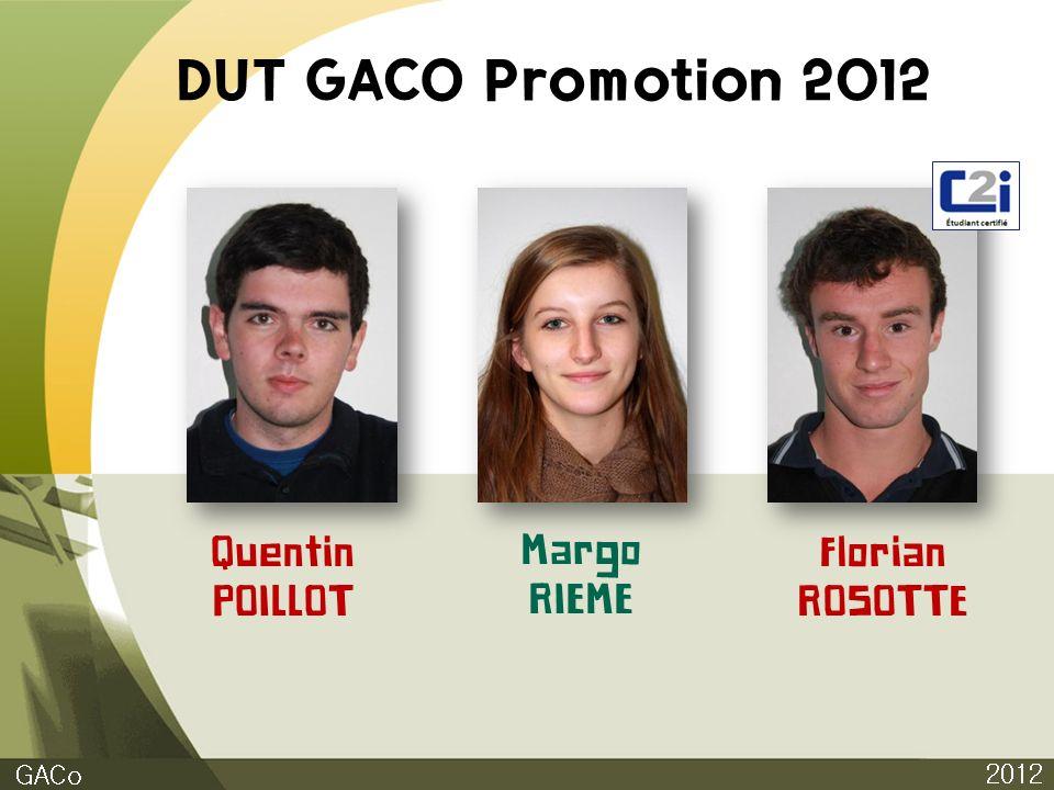 DUT GACO Promotion 2012 2012 GACo Quentin POILLOT Margo RIEME Florian ROSOTTE