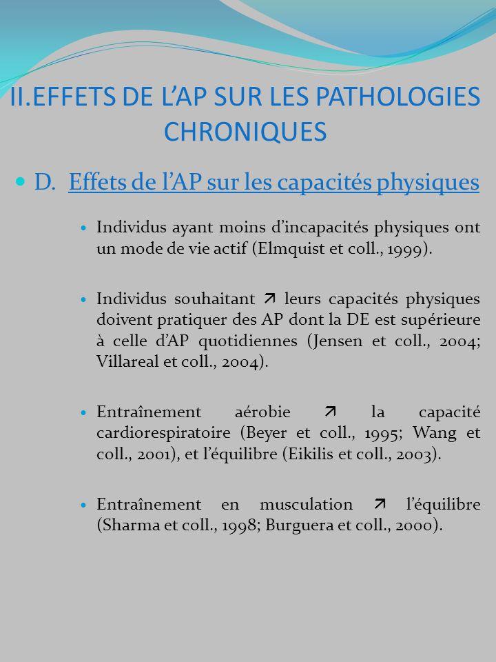 D. Effets de lAP sur les capacités physiques Individus ayant moins dincapacités physiques ont un mode de vie actif (Elmquist et coll., 1999). Individu