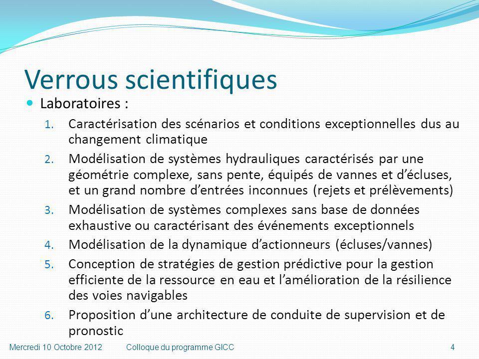 Verrous scientifiques Laboratoires : 1.