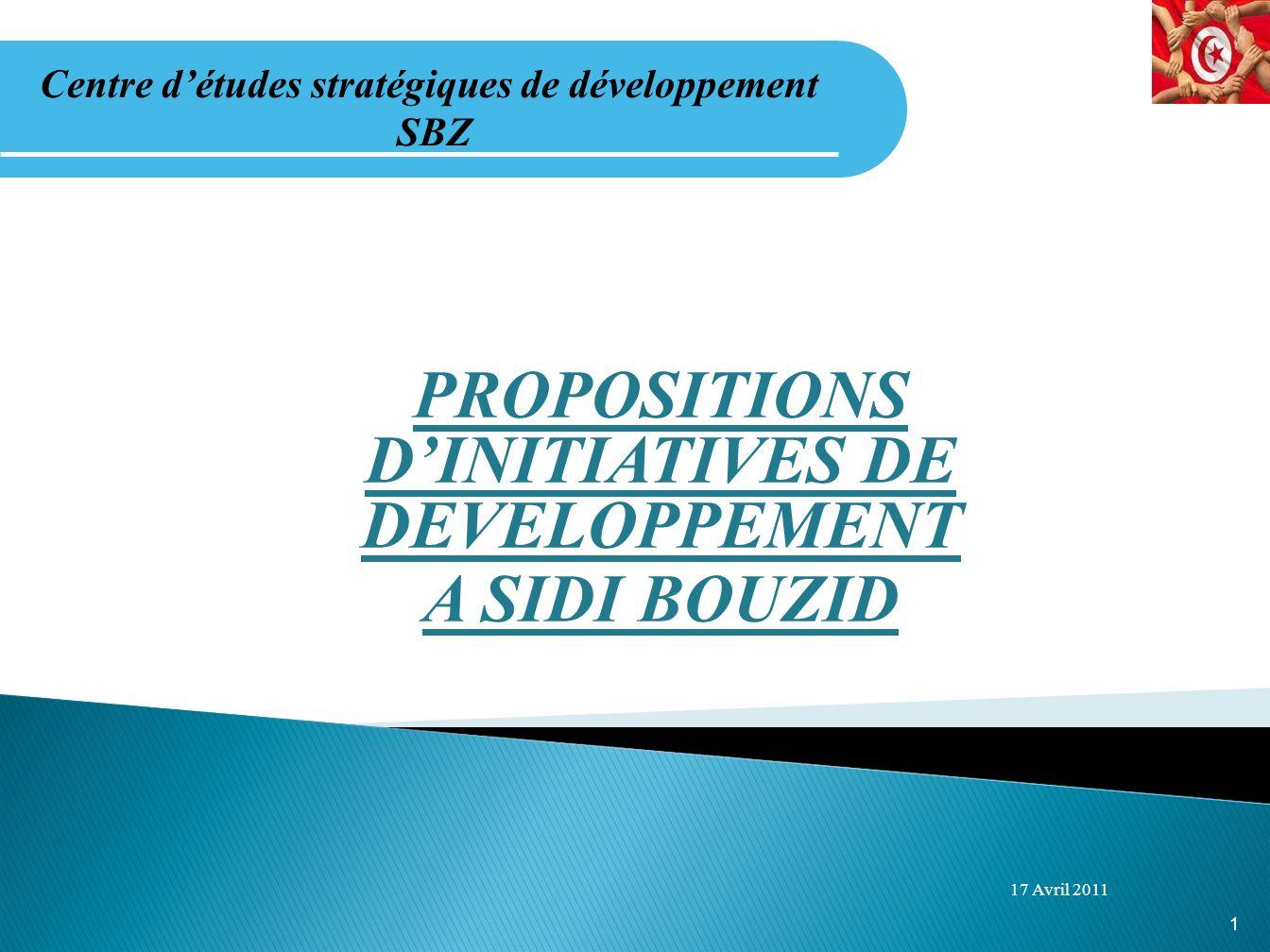 PROPOSITIONS DINITIATIVES DE DEVELOPPEMENT A SIDI BOUZID 17 Avril 2011 Centre détudes stratégiques de développement SBZ 1