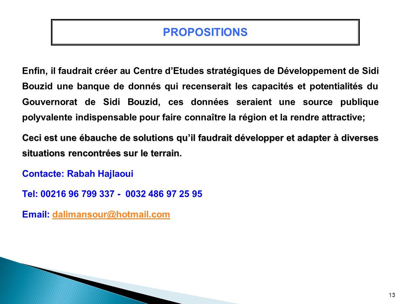 PROPOSITIONS Enfin, il faudrait créer au Centre dEtudes stratégiques de Développement de Sidi Bouzid une banque de donnés qui recenserait les capacité