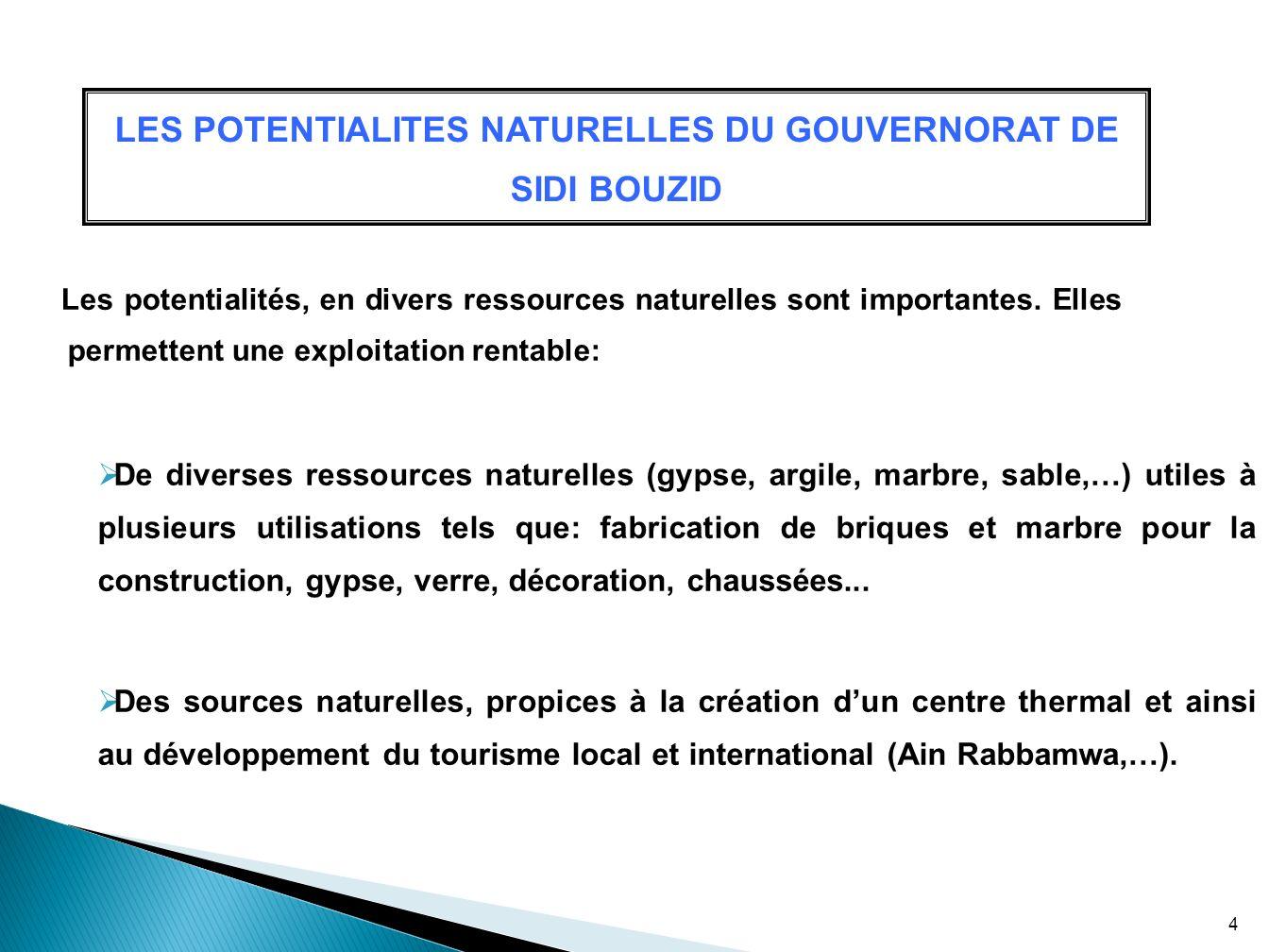 LES POTENTIALITES NATURELLES DU GOUVERNORAT DE SIDI BOUZID Les potentialités, en divers ressources naturelles sont importantes. Elles permettent une e