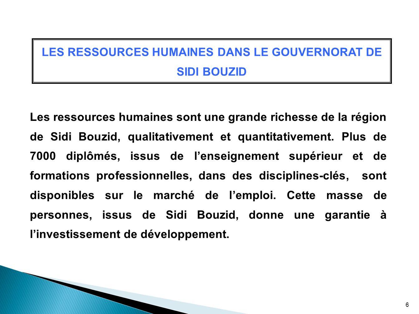 LES RESSOURCES HUMAINES DANS LE GOUVERNORAT DE SIDI BOUZID Les ressources humaines sont une grande richesse de la région de Sidi Bouzid, qualitativeme