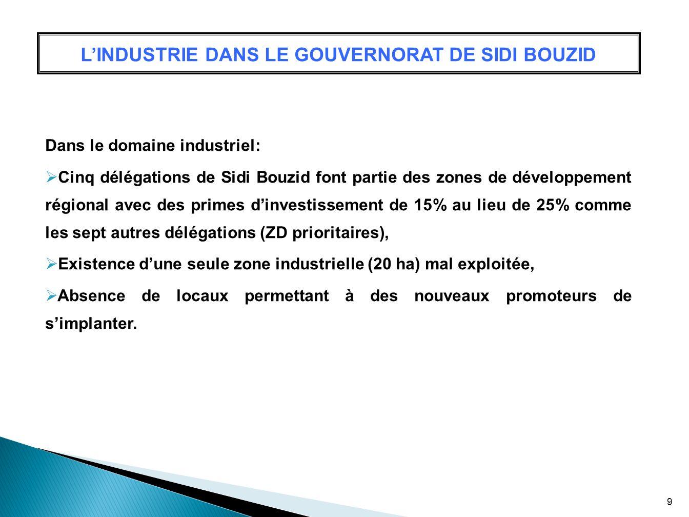 LINDUSTRIE DANS LE GOUVERNORAT DE SIDI BOUZID Dans le domaine industriel: Cinq délégations de Sidi Bouzid font partie des zones de développement régio
