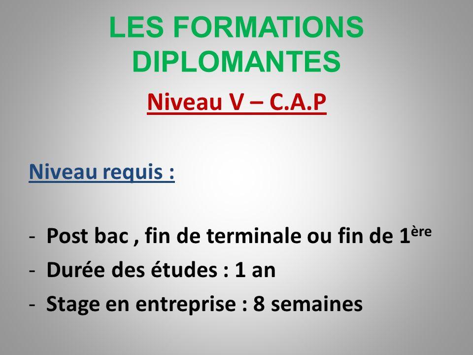LES FORMATIONS DIPLOMANTES Niveau V – Certificat dAptitude Professionnelle Niveau requis : -Fin de 3 ème ou fin de 2 nde -Durée des études : 2 ans -St