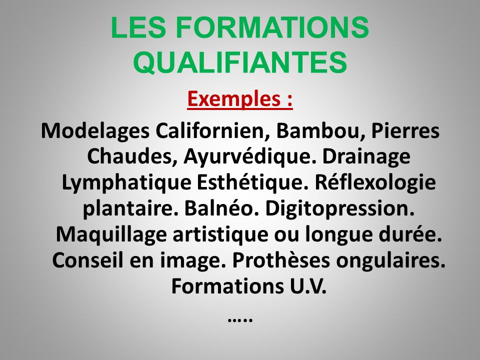 LES FORMATIONS DIPLOMANTES Contenu des programmes : Niveau Brevet Professionnel (BP) Expression française, ouverture sur le monde et Droit, gestion de