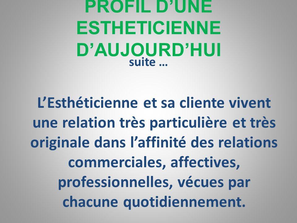 PROFIL DUNE ESTHETICIENNE DAUJOURDHUI Etre « psychologue » avec ses clientes, cela implique : -que lesthéticienne doit faire preuve découte, de finess
