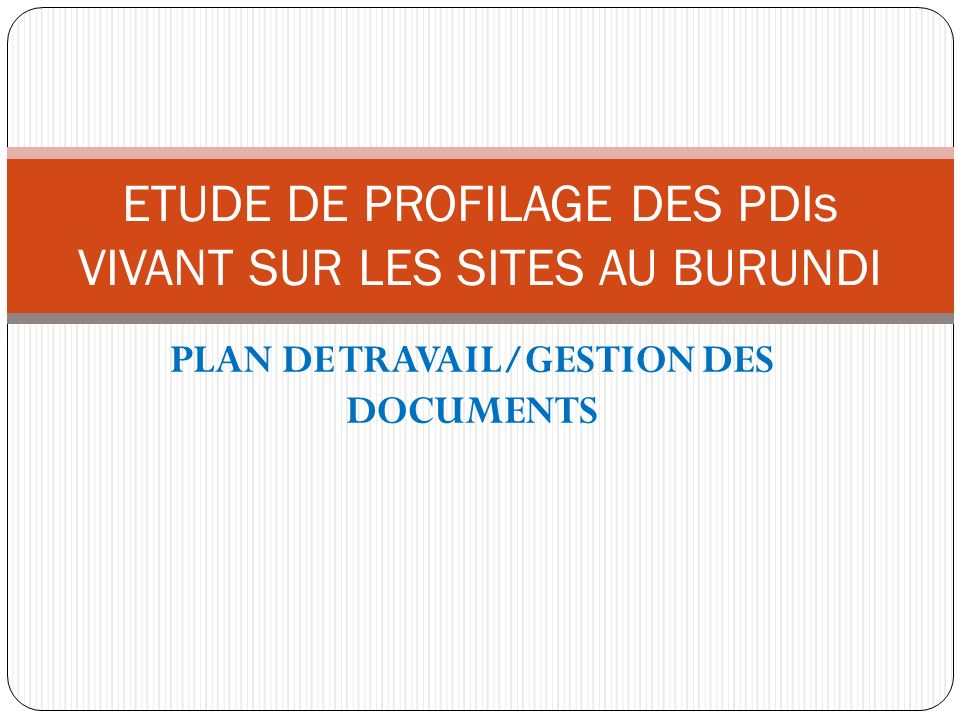 PLAN DE TRAVAIL/GESTION DES DOCUMENTS ETUDE DE PROFILAGE DES PDIs VIVANT SUR LES SITES AU BURUNDI