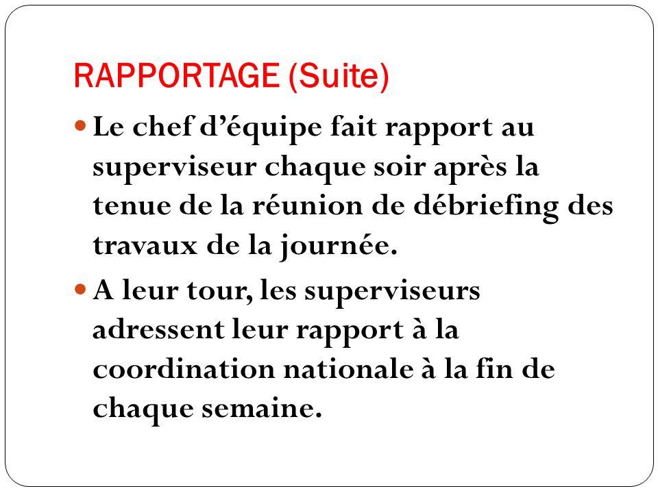RAPPORTAGE (Suite) Le chef déquipe fait rapport au superviseur chaque soir après la tenue de la réunion de débriefing des travaux de la journée.