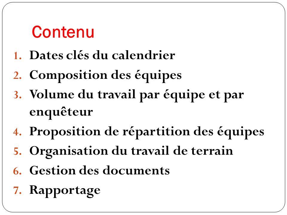 LES DATES CLES DU TRAVAIL DE TERRAIN 04/09/2011: Départ des équipes sur le terrain 05-17/09/2011: Dénombrement sommaire et entretiens avec les chefs de site.
