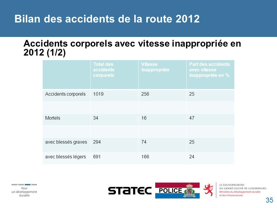 Bilan des accidents de la route 2012 Accidents corporels avec vitesse inappropriée en 2012 (1/2) Total des accidents corporels Vitesse inappropriée Part des accidents avec vitesse inappropriée en % Accidents corporels101925625 Mortels341647 avec blessés graves2947425 avec blessés légers69116624 35