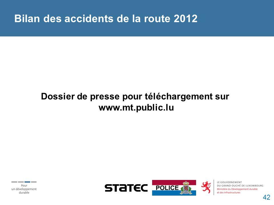 Bilan des accidents de la route 2012 Dossier de presse pour téléchargement sur www.mt.public.lu 42
