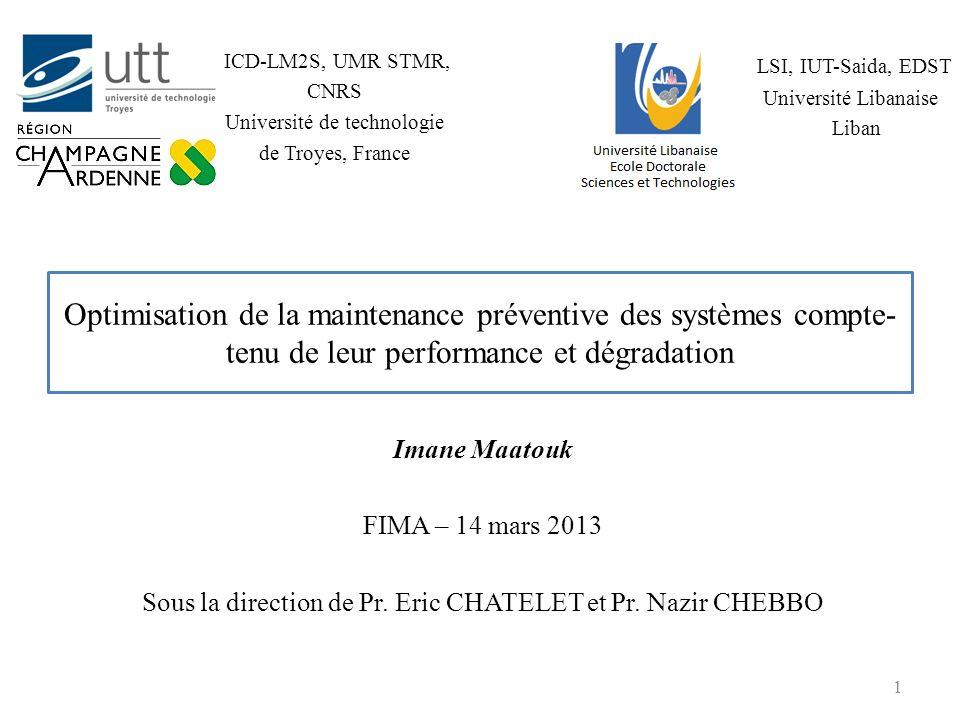 Plan de lexposé 1.Présentation synthétique des travaux de thèse 2.Modélisation et étude de la disponibilité dun Système Multi-Etats (SME) 3.Optimisation de la maintenance préventive des SME 4.Conclusions et perspectives 2