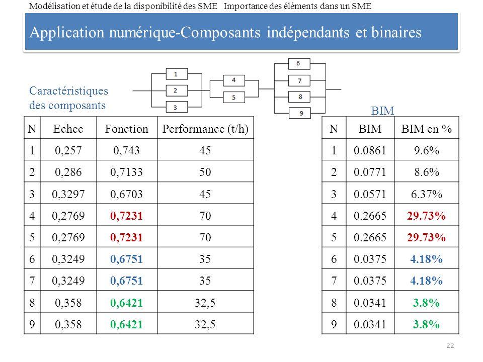 Application numérique-Composants indépendants et binaires 22 Modélisation et étude de la disponibilité des SME Importance des éléments dans un SME NBI