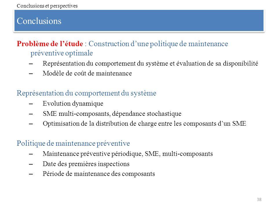 Conclusions 38 Conclusions et perspectives Problème de létude : Construction dune politique de maintenance préventive optimale – Représentation du com
