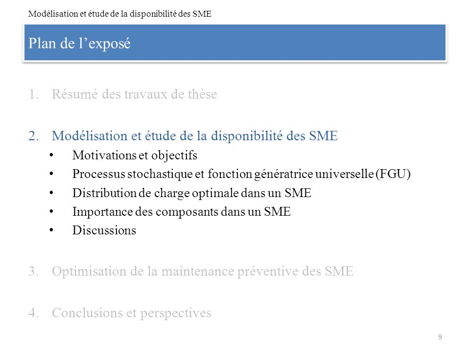 Plan de lexposé 1.Résumé des travaux de thèse 2.Modélisation et étude de la disponibilité des SME Motivations et objectifs Processus stochastique et f