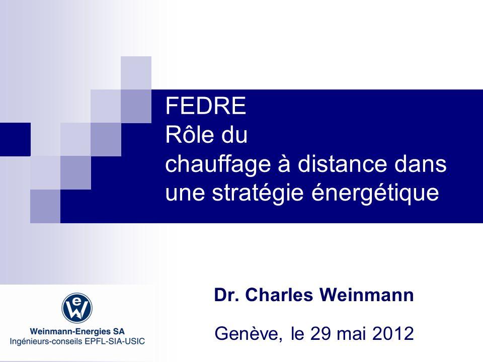 FEDRE Rôle du chauffage à distance dans une stratégie énergétique Dr. Charles Weinmann Genève, le 29 mai 2012