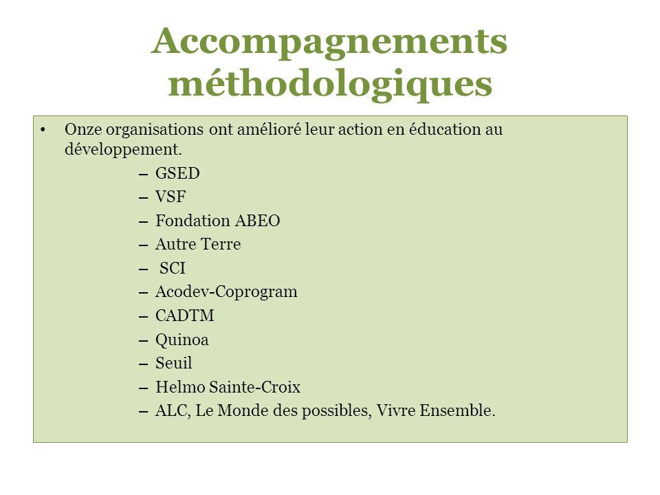 Accompagnements méthodologiques Onze organisations ont amélioré leur action en éducation au développement.