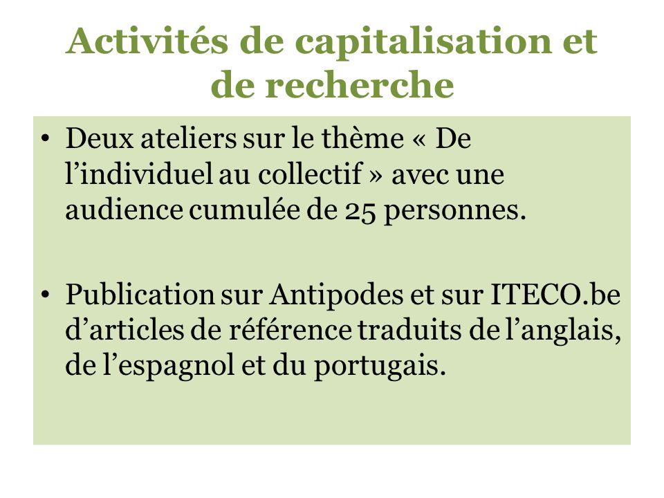 Activités de capitalisation et de recherche Deux ateliers sur le thème « De lindividuel au collectif » avec une audience cumulée de 25 personnes.