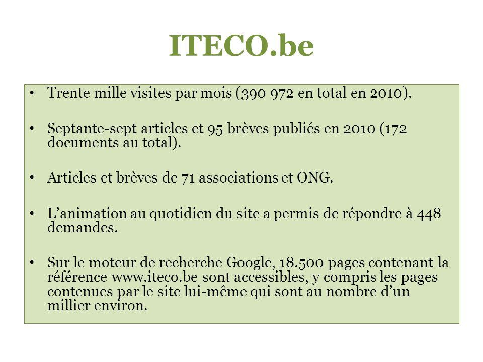 ITECO.be Trente mille visites par mois (390 972 en total en 2010).